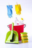 House cleaning items and detergents isolated on white — Stock Photo