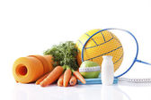 Healthy food and sport equipment isolated on white — Foto de Stock