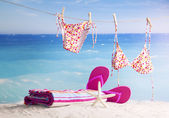 Bikinis hanging on tropical beach — Stock Photo