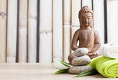 Ayurveda symbols for relaxation and inner beauty ,buddha and meditation — Stock Photo