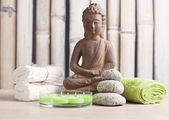 Ayurveda symbols for relaxation and inner beauty ,buddha and meditation — Fotografia Stock