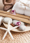 Spa and welness items, zen stones — Stock Photo