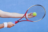 Playing tennis, roland garros court type — Stock Photo