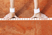 Tennis lesson, warm-up — Stock Photo