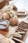 Ingredients for cooking, eggs, honey, bread, flour and milk — Stok fotoğraf