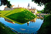 Medieval castle and moat around it in Nesvizh, Belarus. — Stock Photo
