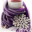 Tea in the purple scarf — Stock Photo