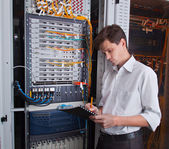 Network engineer in server room — Stok fotoğraf