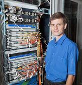 Senior Network engineer in server room — Stock Photo