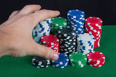 Player wins the hand bank takes all chips — Stock Photo