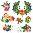 Set of decorative Christmas elements - Stock Vector