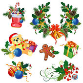 Set of decorative Christmas elements — Stock Vector
