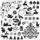 Set of Christmas icons and decorative elements — Vector de stock
