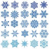 Uppsättning av vektorer snöflingor — Stockvektor