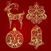 Noel tasarım dekoratif elemanlar — Stok Vektör