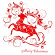 Stock Vector: Christmas background with reindeer
