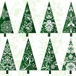 Stockvektor : Set of decorative christmas trees