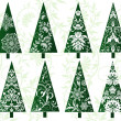 Set of decorative christmas trees - Stock Vector