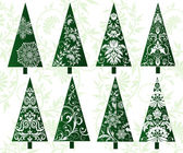 Set of decorative christmas trees — Stock Vector