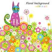 Card with a cat on a flower meadow — Stock Vector