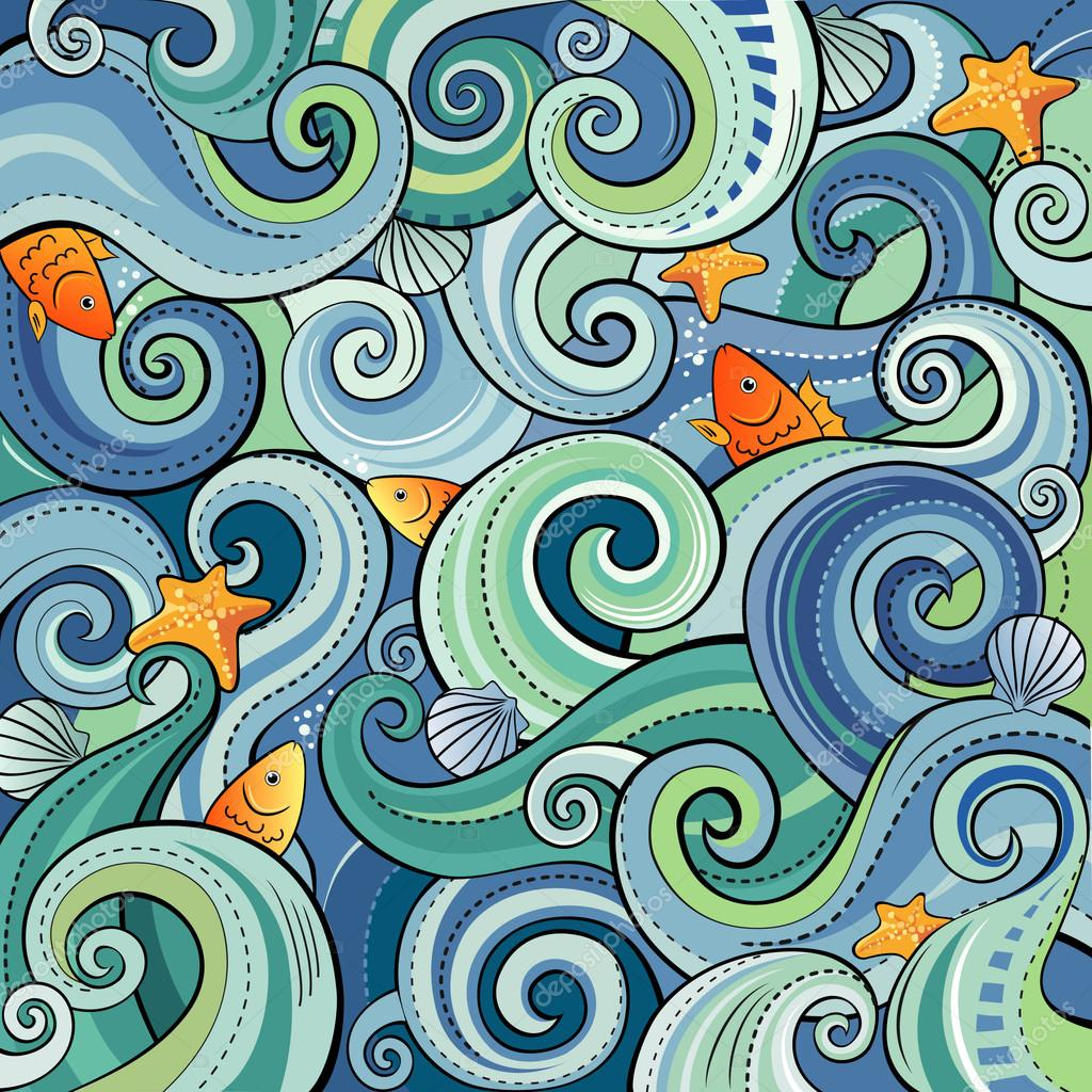 Sfondo con le onde pesci conchiglie e stelle marine for Sfondo animato pesci