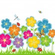 Summer background Flower glade — Stock Vector