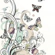 Royalty-Free Stock Imagem Vetorial: Floral background with butterflies