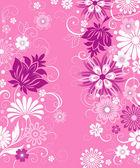 розовый фон с цветами — Cтоковый вектор