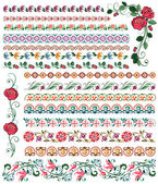 Set of colored flower borders — Stock Vector