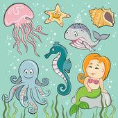 Vector Set of Sea Creatures — Stock Vector