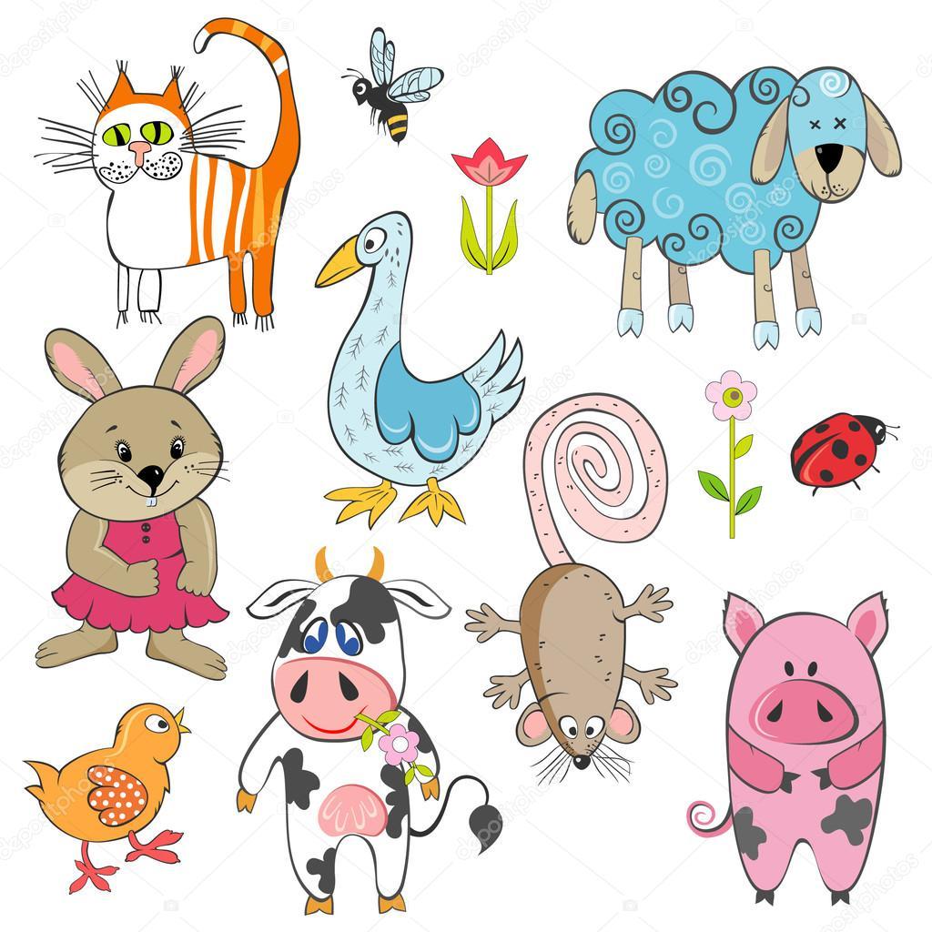 套卡通农场动物— 矢量图片作者