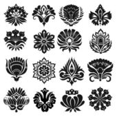 Set of graphic flowers — Stock Vector