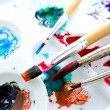 Watercolor tray and paint brush — Stock Photo
