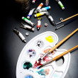 Watercolor tray and paint brush — Stock fotografie