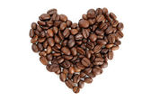 Heart shaped coffee beans — Stock Photo
