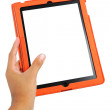 Hand holding the touch screen tablet — Stock Photo #21781603