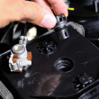 Stock Photo: Car user open battery cap