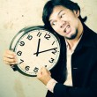 Businessman angry the clock — Stock Photo