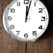 Classic clock on wooden wall. Clock, time, hour, minutes, second, classic, afternoon, late, noon — Stock Photo