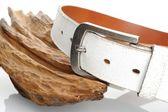 White leather belt  — Stock Photo