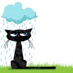 面白い不幸な猫と雨の雲 — ストックベクタ