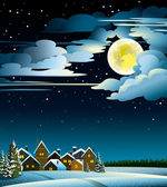 Moon and houses winter — Stock Vector