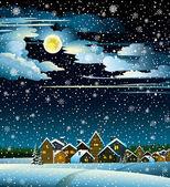 Månen och hus vintern — Stockvektor