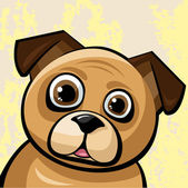 Funny brown pug-gog — Stock Vector