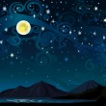 Nigth sky with full moon, mounains and lake — Stock Vector #13220477