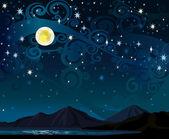 Cielo de noche con luna llena, mounains y lago — Vector de stock