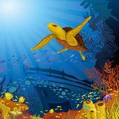 Gekleurde koraal rif met gele schildpad — Stockvector