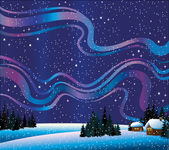 Naturaleza de invierno con northern lights y casas — Vector de stock