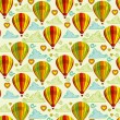 Stok Vektör: Background with hot air balloons and clouds
