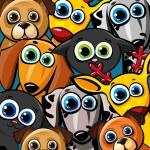 Skupina funny zvířat - kočky, psi a jelen — Stock vektor